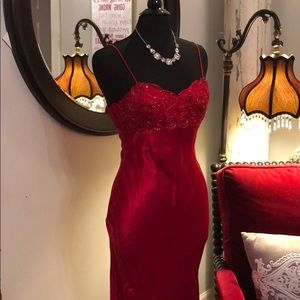 Gorgeous Red Evening Gown, Sequin Bodice, Satin